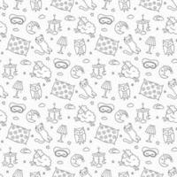 Sleep set in doodle style. Good night symbols. Vector illustration