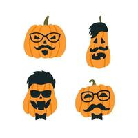 Halloween Pumpkin in the image of a hipster with glasses and mustache vector
