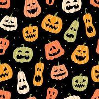 Halloween pumpkin seamless pattern. Hand drawn vector illustration