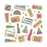 Hand drawn kid toys for Montessori games. vector