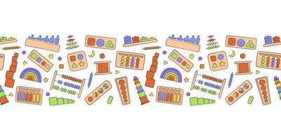 Hand drawn kid toys for Montessori games. Education logic toys vector