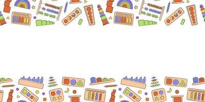 Kid toys for Montessori games. Education toys for preschool children vector