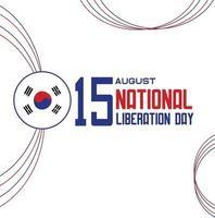 día de la liberación nacional y día de la independencia de corea del sur vector