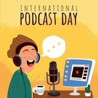 concepto de día internacional de podcats vector