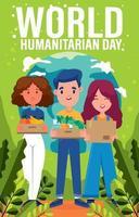 cartel del día mundial humanitario vector