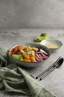 Arrangement with delicious vegan meal photo