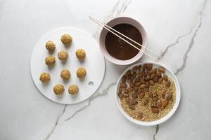 Delicious high protein vegan dessert arrangement photo