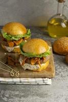 Composition with delicious vegan burger photo
