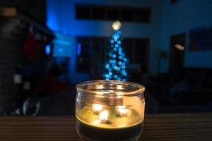 home indoor decorated for christmas holiday season photo