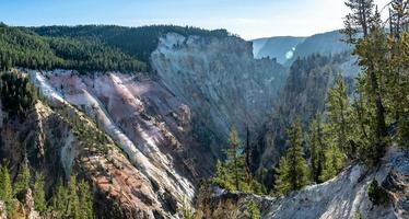 artist point waterfall nature in yellowstone wyoming photo