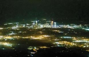 Abstract night view of charlotte nc downtown from airplane photo