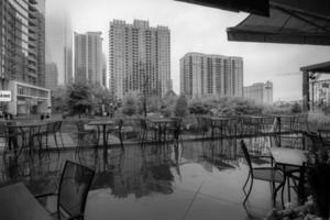 charlotte north carolina skyline on a rainy day photo