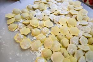 Russian traditional pelmeni with meat. Uncooked freshly made raw photo