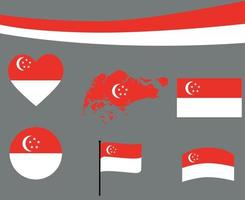 Singapore Flag Map Ribbon And Heart Icons Vector Abstract