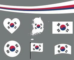 corea del sur, bandera, mapa, cinta, y, corazón, iconos, vector, extracto vector