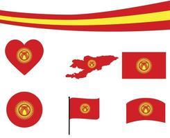 Kyrgyzstan Flag Map Ribbon And Heart Icons Vector Abstract