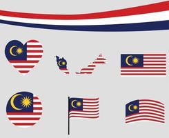 Malaysia Flag Map Ribbon And Heart Icons Vector Abstract