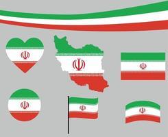 Iran Flag Map Ribbon And Heart Icons Vector Abstract
