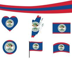 Belize Flag Map Ribbon And Heart Icons Vector Abstract