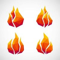 Low poly fire icons. vector illustration