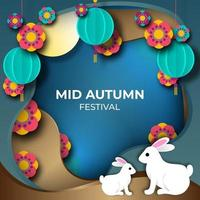 Colorful Mid Autumn Festival Paperart Background vector