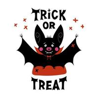 Cute vampire bat with fangs and red cloak and Trick or treat lettering vector