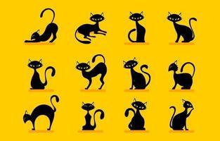 Black Cat Halloween Character Set vector