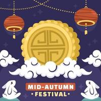 Mid Autumn Greeting with Moon Cake vector