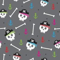 colorful pirates skull with gray background vector