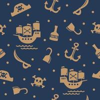 gold pirates icon with dark blue background vector