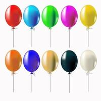 Set of multi-colored realistic balloons. vector
