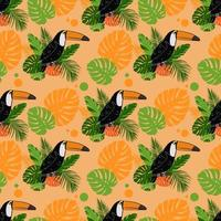Toucan bird, leaves of monstera and tropical plants. Seamless pattern vector