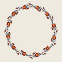 Frame with decorative ornamental flowers, floral pattern in kalamkari vector