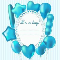Frame for newborn baby boy in blue colors with balloons. vector