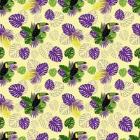 Seamless pattern on a tropical theme. Toucan bird, leaves of monstera vector