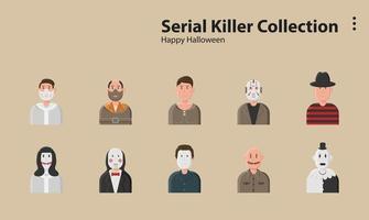 serial killer happy halloween horror dark thriller creepy vector
