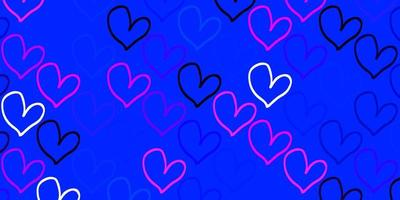 Light Pink, Blue vector backdrop with sweet hearts.