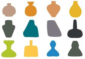 Abstract Hand Drawn Vases Set vector
