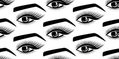 eyelashes eyes eyebrows seamless pattern vector