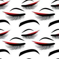 eyelashes and eyebrow seamless background vector