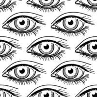 eye eyelashes tattoo seamless pattern vector