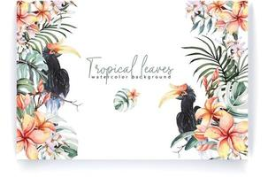Frame with watercolor tropical leaves vector