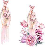 Mostrar el símbolo de la cruz del dedo y la mentira en acuarela vector