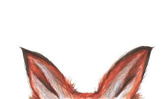 Fox ears. Watercolor illustration. Poster for kids design. vector