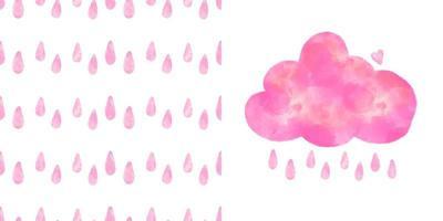 Vector set - pink watercolor cloud, raindrops seamless pattern