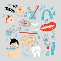 Dental care doodle set simple tooth care illustration Healthy teeth vector