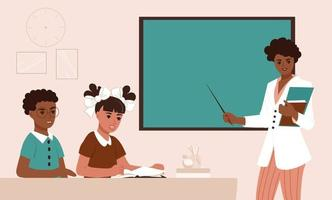 School class with young African American woman teacher vector