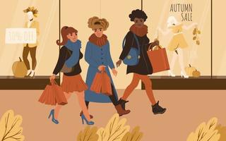 Girls friends go shopping together. Autumn sales vector
