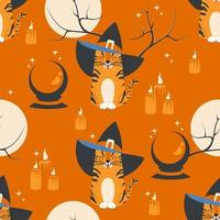 Seamless pattern with witch tabby cat, full moon and magic ball vector