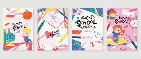 Back to school vector banners. Kids hand drawn background design
